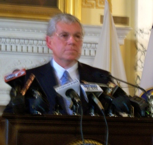 Governor Donald Carcieri @ Press Conference about to sign prostitution law